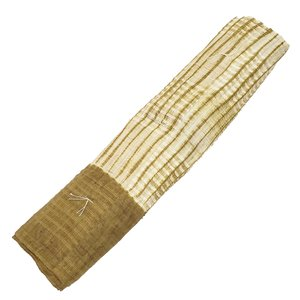 男物 メンズ 本麻変わり織り 縫い締め木目絞り 兵児帯 ( 本麻 100% )   ≪ 黄土色 ≫ gofuku-masuya