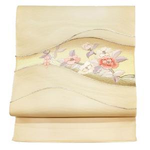 特別価格品  夏帯 九寸 絽名古屋帯  引箔ぼかし 刺繍草花文様 ( 正 絹 ) ◇ 通常名古屋帯お仕立 追加5,500円でお受けいたします。|gofuku-masuya