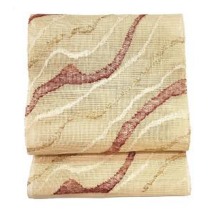 特別価格品  夏帯 八寸 名古屋帯 ( 正絹 ) 「紗織り 金銀紅白道長文様」 ◇ 名古屋帯お仕立かがり 追加3,850円でお受けいたします。|gofuku-masuya