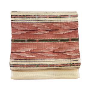 特別価格品  夏帯 八寸 名古屋帯  紗織り 横段文様  ( 正絹 ) ◇ 名古屋帯お仕立かがり 追加3,850円でお受けいたします。|gofuku-masuya