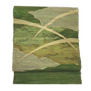 特別価格品  夏帯 八寸 名古屋帯 ( 正絹 ) 「変わり紗織り 露芝文様」 ◇ 名古屋帯お仕立かがり 追加3,850円でお受けいたします。|gofuku-masuya