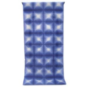 :::: 伝統の絞り染め ::::  京都老舗 絞染専門製造卸謹製 「 板締め絞り 」 綿麻変わり織り 瑠璃色 雪花柄(反物)|gofuku-masuya