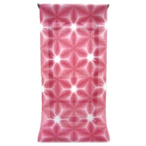 :::: 伝統の絞り染め ::::  京都老舗 絞染専門製造卸謹製 「 板締め絞り 」 綿麻変わり織り 赤紅色 雪花柄(反物)|gofuku-masuya