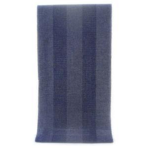 男性用 紳士用 メンズ ゆかた  先染め糸の綿麻変わり織り  白&紺 十字絣と崩れ亀甲の太縞柄(反物)|gofuku-masuya