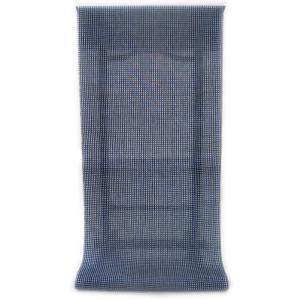 男性用 紳士用 メンズ 捺染ゆかた  シャリっと綿麻変わり織り   瑠璃紺色濃淡の細かい格子柄(反物・広巾)|gofuku-masuya