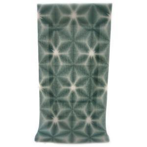 :::: 伝統の絞り染め ::::  京都老舗 絞染専門製造卸謹製 「 板締め絞り 」 綿麻変わり織り 深緑色 雪花柄(反物・広巾)|gofuku-masuya