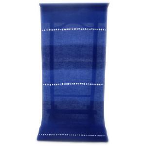 男性用 紳士用 メンズ 注染ゆかた  明るく華やかな色合いロイヤルブルー瑠璃色に   愛嬌たっぷりの濃淡二段ぼかし柄(反物・広巾)|gofuku-masuya