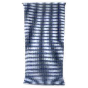 男性用 紳士用 メンズ 注染ゆかた  清涼感あふれる純白の木綿に   紺青色濃淡のよろけ格子柄(反物・広巾)|gofuku-masuya