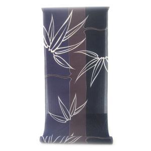 :::: 伝統の捺染ゆかた ::::  とっておきの涼感にうっとり 縦縞の木綿絽  三色彩る竹縞に白く浮き立つ笹柄(反物)|gofuku-masuya