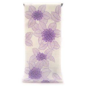 注染ゆかた 極上の肌触りで着心地さらっと綿麻紅梅  紫色の濃淡ぼかし染め 紫陽花柄(反物)|gofuku-masuya