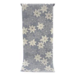 注染ゆかた とっておきの涼感にうっとり 銀鼠色の木綿絽  陰日向に染められたもみじ柄(反物)|gofuku-masuya