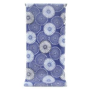 注染ゆかた ほんのり透け感 縞模様の変わり織り  瑠璃紺色に凛々しく咲き競う重陽菊柄(反物)|gofuku-masuya