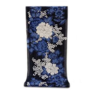 :::: 伝統の捺染ゆかた ::::  ほんのり透け感 縞模様の変わり織り  紺地に豪華絢爛和花尽くし柄(反物・広巾)|gofuku-masuya