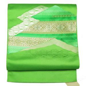 リサイクル帯 名古屋帯 正絹グリーン地金糸名古屋帯