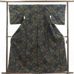 正絹の黒地の袷大島紬着物です。一般的に大島紬は縦横の先染糸で柄が表現されますが、こちらは横糸だけで表...
