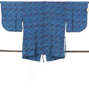 リサイクル着物 道行コート・道中着 正絹ブルー地ふくれ織袷道中着