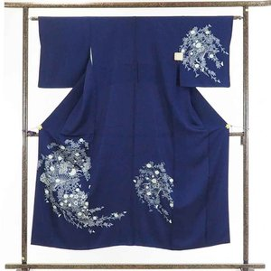 リサイクル着物 訪問着 正絹紺地花柄袷訪問着着物