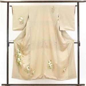 リサイクル着物 訪問着 正絹薄茶地花柄袷訪問着着物