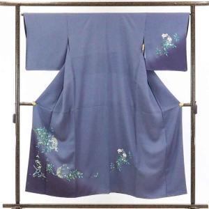 リサイクル着物 訪問着 正絹ブルーグレー地花柄袷訪問着着物