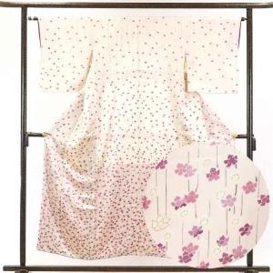リサイクル着物 訪問着 正絹薄ピンク地花柄袷訪問着着物