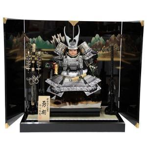 五月人形 アウトレット品  平飾り子ども大将 いぶし銀鎧着武...