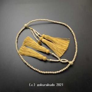 数珠 日蓮宗用 総星月菩提樹 尺2 金茶装束房(正絹6匁)|gokurakudo