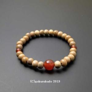 数珠 ブレス 白檀6mm玉 メノウ入り gokurakudo