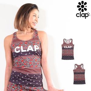 CLAP(クラップ) Yバックタンク (タンクトップシャツ) フラワーボーダー(FLOWER BORDER)|golazo