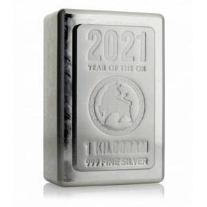 2021年 (新品) 1キロ .999 純銀「 干支・十二支・丑年・牛年 」インゴット バー ヘレウ...