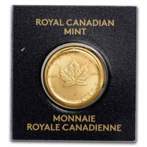 2021年 (新品)  カナダ メイプルリーフ 1グラム 保証番号付 .9999  純金 24K 金...