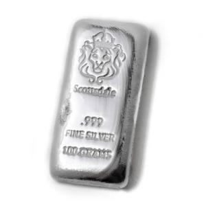 (新品) 100グラム 純度 .999 銀 バー 「 キャスト バー 」 純銀 インゴット スコッツ...