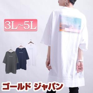 大きいサイズ レディース トップス Tシャツ カットソー バックプリントビッグTシャツチュニック 夏...