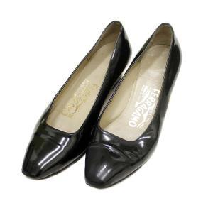 サルヴァトーレフェラガモ 靴  エナメル  パンプス レディース パテントレザー ブラック 中古  Salvatore Ferragamo|goldeco