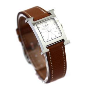 エルメス Hウォッチ 腕時計 レディース クォーツ 電池式 レザーベルト ステンレス ホワイト文字盤 シルバー キャメル HH1.210 中古 HERMES|goldeco