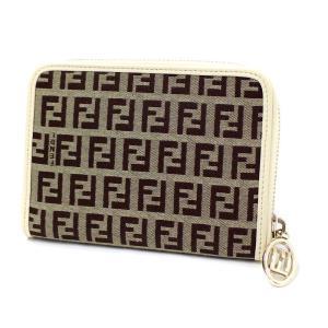 フェンディ ズッカ柄 二つ折り財布 レディース キャンバス レザー アイボリー 8M0272 中古 送料無料 FENDI|goldeco