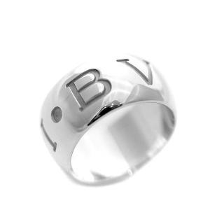 新品仕上げ済み ブルガリ モノロゴ リング・指輪 ユニセックス K18ホワイトゴールド ジュエリー 12号 ホワイトゴールド 中古 送料無料 BVLGARI|goldeco