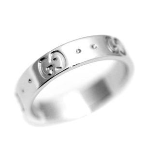 新品仕上げ済み グッチ アイコンリング GG リング・指輪 ユニセックス K18ホワイトゴールド ジュエリー 7.5号 WG 中古 送料無料 GUCCI|goldeco