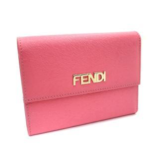 フェンディ 三つ折り財布 レディース パテントレザー ピンク 8M0026 中古 送料無料 FENDI goldeco