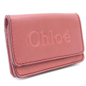 クロエ シャドウ カードケース レディース レザー ペオニーレッド 3P0347 中古 送料無料 Chloe|goldeco
