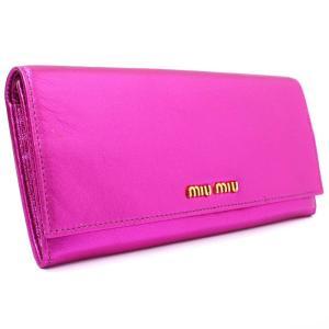 ミュウミュウ 二つ折り 長財布 レディース レザー メタリックピンク 5M1109 中古 送料無料 MIUMIU|goldeco