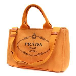 プラダ カナパ トートバッグ レディース キャンバス オレンジ BN2642 中古 送料無料 PRADA|goldeco