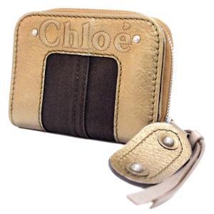 クロエ ラウンドファスナー 二つ折り財布 ユニセックス レザー キャンバス ゴールド ブラウン 中古  Chloe|goldeco