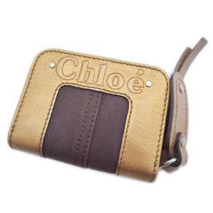 Chloe クロエ レザー ラウンドファスナー 2つ折り財布 ゴールド ブラウン 茶色 ブロンズ レディース 中古|goldeco