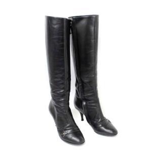 ルイ ヴィトン モノグラムフラワー ロングブーツ 靴 #34 ブーツ レディース レザー ブラック 中古 送料無料 LOUIS VUITTON|goldeco