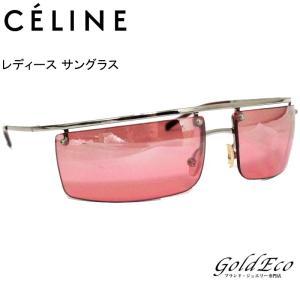 セリーヌ レディース ングラス シルバー レッド SC1037 ロゴ ステンレス プラスチック 中古 CELINE|goldeco