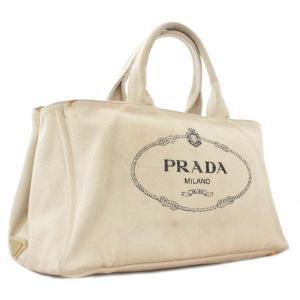 プラダ カナパ トートバッグ レディース キャンバス アイボリー B1872B 中古 送料無料 PRADA|goldeco