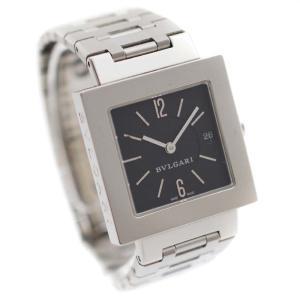 ブルガリ クアドラード 腕時計 レディース クオーツ ブラック文字盤 シルバー SQ27SSD 中古 送料無料 BVLGARI goldeco