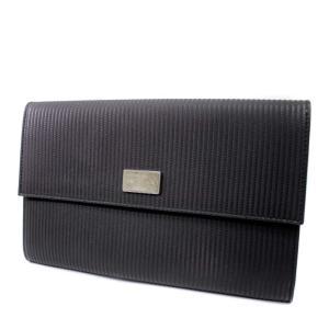 ブルガリ トラベルケース パスポートケース ミレリゲ 長財布 メンズ PVC レザー ブラック 25562 中古 送料無料 BVLGARI|goldeco