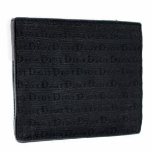 ディオール・オム ロゴキャンバス 二つ折り財布 メンズ キャンバス レザー ブラック TDHC2002 中古  DIOR HOMME|goldeco