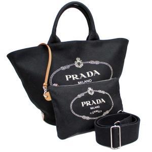 プラダ カナパ ファブリック 2WAY トートバッグ レディース キャンバス レザー ブラック 1BG163 中古 送料無料 PRADA|goldeco